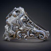 الكلاسيكية الماسونية الجمجمة 316l الفولاذ المقاوم للصدأ الشرير الجمجمة رئيس الرجال السائق الدائري مجوهرات الولايات الحجم 7-14