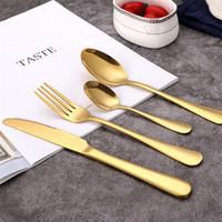 Золото Flatware Set Wedding Gold Посуды Набор мыть в посудомоечной машине из нержавеющей стали Столовые приборы Набор из 4-х штук