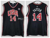 غاري بايتون # 14 team usa الرجعية كرة السلة جيرسي الرجال مخيط رقم العرف اسم الفانيلة