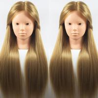 Satış Manken baş saç stilleri için Uzun 65cm% 100 Yüksek Sıcaklık Fiber Sarışın Saç Kadın Eğitim Müdürü Kuaförlük Uygulaması Doll Başkanı