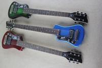 Fabriks Custom Travel Guitar vänsterhänt elektrisk gitarr med fri väska, svart pickguard, krom hårdvara, kan anpassas