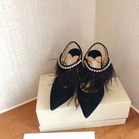 2020 pattini convenzionali nuova fascia alta scarpe firmate nappa di cuoio di modo delle donne appuntito tacchi alti 9.5cm pattini di banchetto vestono numero di scarpe 35-41