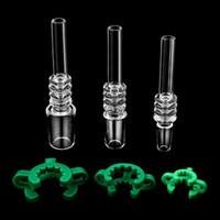 New 10mm 14mm 18mm Male Quartz Tip With Plastic Keck Clips For Mini NC Kits Quartz Banger Nail Dab Rigs Glass Water Bongs