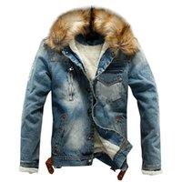 Gli uomini cappotti invernali con cappuccio Softshell antivento morbida Cappotto Autunno Inverno tasca tasto di risciacquo Flick denim con cappuccio Top Coat