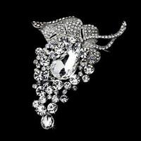 Broche de diamante de diamantes de imitación con forma de uva extra grande de 4 pulgadas con cristal en forma de lágrima