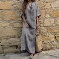Robe de lin de coton pour femmes grand taille 5XL de grande taille Kaftan à manches longues à manches longues 2020 Été rayé femmes et longues robes de boho longues