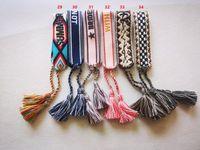 Designer jóias mulheres pulseiras, braceletes de amizade de algodão tecida para casal amado e melhores amigos com tassels de corda puxar