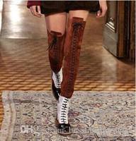 2018 جديد وصول مختلط الألوان جلد الغزال الإناث الشقق فوق الركبة أحذية امرأة الدانتيل متابعة دراجة نارية الفخذ العليا مارتن الجوارب امرأة