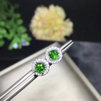 Uloveido Natural Diopside Pendientes para Mujeres, Plata de Ley 925, 4 * 4mm * 2 Unids Birthstone Gemstone Wedding Party Jewelry FR103