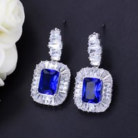 Mode-Bruids Bruiloft Dames Koninklijke Sieraden CZ Crystal Inlay Dark Blue Square Cubic Zirkoon Grote Verklaring Daling Oorbellen E157
