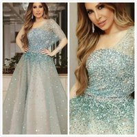 Sparkly Sexy 2019 Arabic Evening Dresses One Shoulder Beaded...
