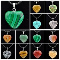 الكثير أزياء 12 جهاز كمبيوتر شخصى على شكل قلب قلادة قلادة الحجر الطبيعي للرجال مجوهرات رجالية هدايا mn484