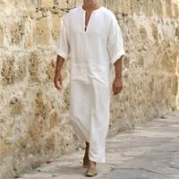 Etnik Giyim Erkekler Keten Yumuşak Müslüman Elbiseler Abaya Dubai Arapça İslam Elbise Kaftan Jubba Thobe Qamis Homme İslam Geleneksel Kostümleri