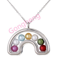 K1448 Argento Può aprire Rainbow Perle perline Cage Magnetic Floating Floating Locket Pendenti Donna Charms Collana
