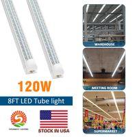 4FT libre de envío. 8 pies. Bombilla LED T8 Tienda luces 120W integrado con piezas en forma de V 320 100-277V ángulo más frías luces de la tienda