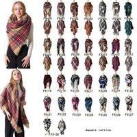 Frauen Plaid Schals Grid Kaschmir-Troddel-Verpackungs-Übergröße prüfen Schal Winter-Halstuch Lattice Quadrat Decke Schal CCA11889 12st