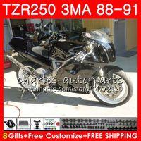 Corps pour YAMAHA TZR-250 3MA TZR250 88 89 90 91 118HM.1 TZR250RR Noir brillant tout TZR250 RS RR YPVS TZR 250 1988 1989 1990 1991 1991 Kit de carénage