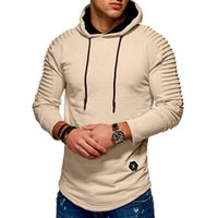 Hot Sale Men' s Hoodies Casual Sweatshirts Solid Pleated...