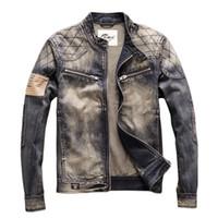 Erkek Ceketler KIMSSE Erkekler Moda Vintage Biker Jean Retro Motosiklet Denim Ceket Giyim Erkek Yamalar Ile Yıkanmış Boyutu M-3XL