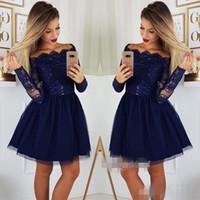 Dark Blue Long Sleeves Homecoming Dresses Elegant Off the Shoulder Above Knee Length Short Mini Sequins Appliqued Cocktail Party Gown