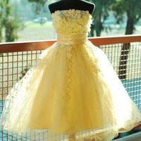 세련된 Strapless A-Line Tulle 노란색 댄스 파티 드레스 3D 레이스 Sash Bodice Debs 홈 메이커 드레스 지퍼 위로 뒷 파티 드레스