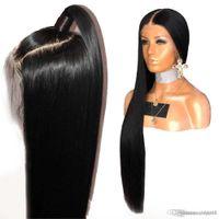Peluca delantera del cordón del 250% Densidad recta envío 360 frontal del cordón pelucas de pelo humano brasileño de Remy Pre desplumados Por Negro libre de las mujeres