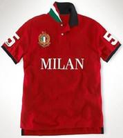 Moda Hombres Ciudad Polo Shirts Big Horse Bordado Milán / Roma / Londres / Dubai / Tokio / Nueva York / París Moda de algodón Polos Masculinos Blanco Negro S-XXL