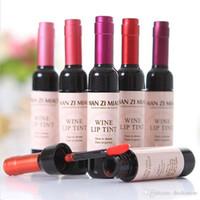 6 가지 색상 레드 와인 병 립스틱 문신 스테인드 매트 립스틱 레드 립글로스 마모가 쉬운 비 점착 틴트 액체