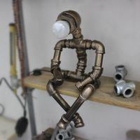 Kreative Eisen Wasserpfeife Tischlampen Loft Vintage Industrielle Tischlampe LED Bettstift Schreibtischlampe für Café Bar Roboterlicht