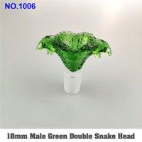 Duplo Cobra Bacia de vidro de 14 milímetros 18 milímetros masculino com punho colorido fumadores Bong bacia peça para vidro da tubulação de água Bongs Dab Rigs ff