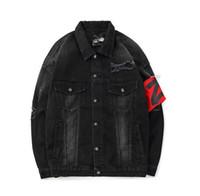 Benzersiz Bağbozumu Ripped Erkekler Patchwork Denim Pamuk Siyah Jean Ceket Mont Hip Hop Rahat Kot Ceketler Tasarımcı Erkek Moda Streetwear