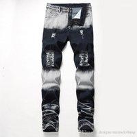 Löcher Stretch Männer lange Jeans Regular mittlere Taille Gerade Mens Pants Mode Männlich Bekleidung Distrressed Blau Weiß