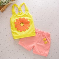 Baby Girls children short Sets Clothing Summer Sunflower T S...
