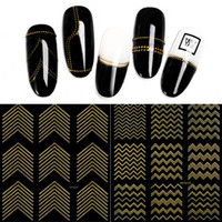 Gold Metal 3D Nail Stickers Stripes Wave Line DIY Nail Art S...