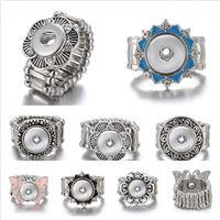 Trozos de plata de la vendimia Noosa Ginger Snap Button joyería cuerda elástico 12mm broche de presión ajustable del botón anillo de los hombres para las mujeres de la joyería