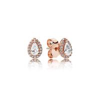 18K розовое золото покрыло Сияющий Tear падение серьги стержня Logo первоначально коробка для Пандора 925 стерлингового серебра Teardrop серьги женщин свадебный подарок