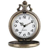 YISUYA NARUTO quartzo relógio de bolso Colar Meio caçador Bronze Vintage Steampunk Pingente presente para as crianças Mulheres Homens