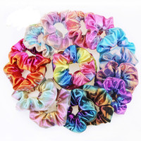 Bandas Anillo Scrunchies brillo señora pelo de las muchachas elásticos del pelo del color puro Bobble Sports Danza terciopelo suave de Scrunchie Encanto Hairband
