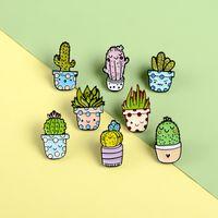Desenhos animados Cacto Brooch Bonito Mini Planta Potenciômetro Mulheres Denim Jaquetas Lapela Pins Hat Badges Kid Jóias Presente de Natal