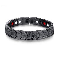 Siyah Moda Basit erkek Negatif Iyon Mıknatıs Bileklik Paslanmaz Çelik Taş Bilezik Watchband Takı Hediye Erkekler Boys için J019