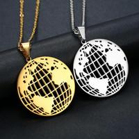 До н.э. Классический круглый Золотая карта Земли ожерелье молодежи Творческое шар шеи цепи из нержавеющей стали ключицы цепи