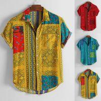 Para hombre de la vendimia étnico Impreso Gire hacia abajo del collar manga corta camisas ocasionales flojos 2020 Slim Fit masculino blusa de la camisa de los hombres de negocios