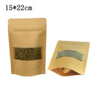 50 adet / grup 15 * 22 cm Fermuar En Stand Up Kraft Kağıt Paketi ile Mat Temizle Pencere Kullanımlık Zip Kilit Gıda Vakum Ambalaj Torbaları