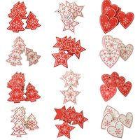 10pcs 5CM New Year Natural Wood Christmas Ornaments Pendant ...