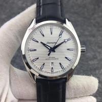 Reloj de la correa de acero reloj famosa marca suiza de lujo mecánico automático de cuero resistente al agua Aqua Terra 150m Maestro 41.5mm inoxidable de los hombres de