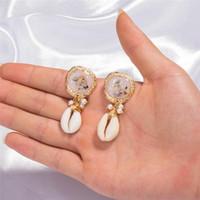 Natura Stone Shell Örhängen Kvinnor Charm Öra Ringar Harmin Coral Drop Fashion Smycken Gift 350202