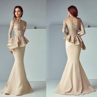 Champagne Sirena Vestidos de noche Sheer Cuello Peplum Encaje Satén Manga Larga Dubai Arabe Formal Vestido de fiesta largo Madre de la novia Vestido