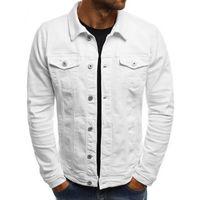 JODIMITTY 2020 Katı Renk Kot ceketler Erkekler Moda Sonbahar İnce ceketler Mens Casual Denim Palto Yaka Streetwear Turn-down