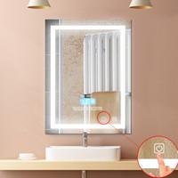 1pc Modern LED 24W Banho Montado Wall Mirror Iluminado Lighted simples iluminado com toque de botão Vanity Luz Maquiagem Espelho