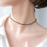 Fashion 925 Sterling Silver Double Layer Black Beads Chain N...